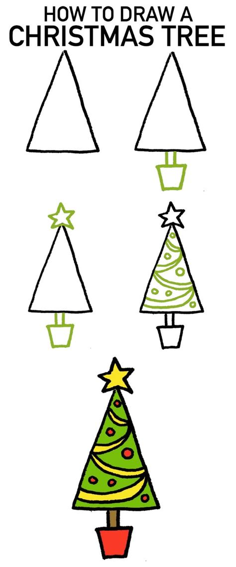 draw  christmas tree  cartoon tutorials art