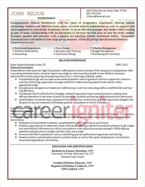nutritionist resume sle resume resume