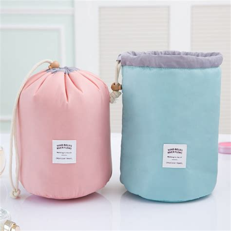waterproof cylinder cosmetic storage bag  nylon