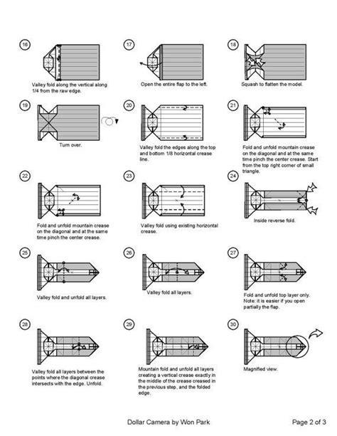 camera diagram    money origami dollar bill art