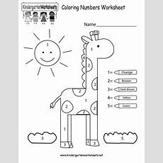 Coloring Numbers Worksheet  Free Kindergarten Math Worksheet For Kids
