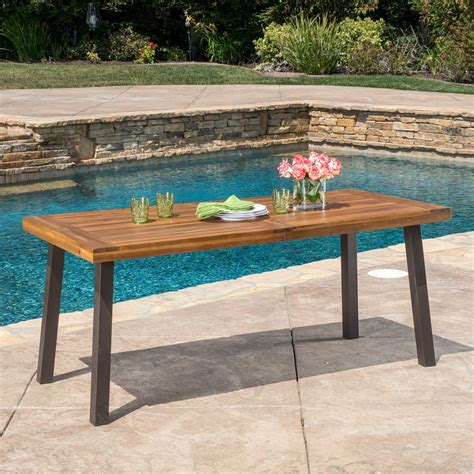 wood patio table delgado 7 outdoor dining set with wood table and