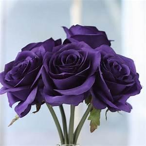 Purple Artificial Open Rose Bouquet - Bushes and Bouquets ...