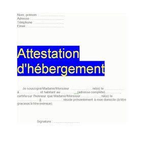 attestation hebergement modele word attestation d h 233 bergement simple exemple et mod 232 les de