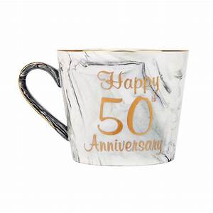 Beautiful, 50th, Anniversary, Grey, And, Pink, Marble, Ceramic, Mugs, With, Golden, Trim