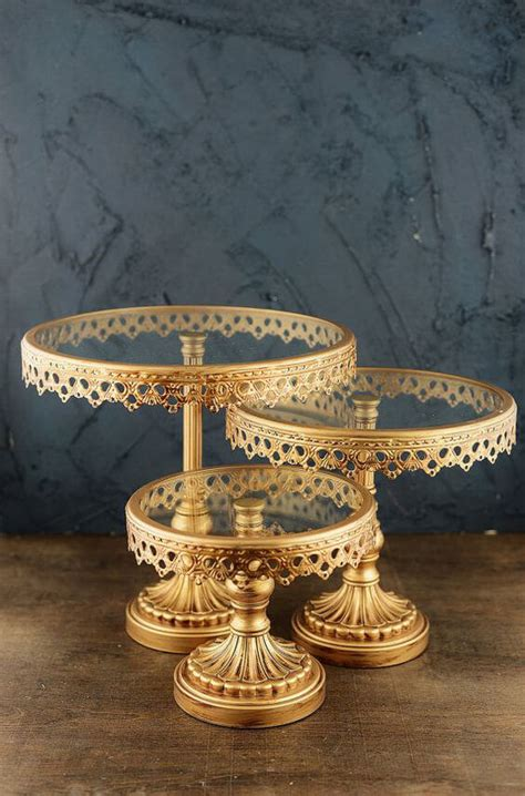 gold metal glass cake stands