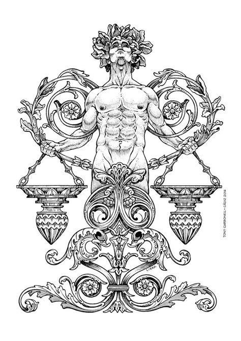 Zodiac Libra, #Dibujos e #Illustrations de Tony Carbonell #Cadiz | Coloring pages | Dibujos