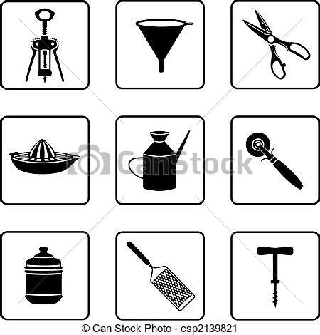 clipart cucina utensili cucina silhouette oggetti nero bianco
