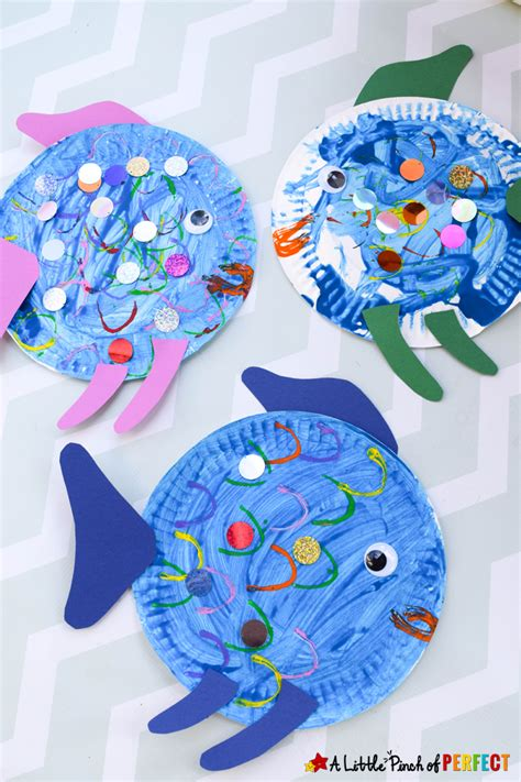paper plate fish craft inspired by the rainbow fish 704 | Paper Plate Fish Craft Inspired by The Rainbow Fish A Little Pinch of Perfect 11