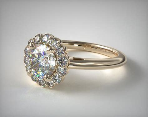 floral halo engagement ring  yellow gold james