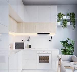 1001 astuces et idees pour amenager une cuisine en l for Idee deco cuisine avec meuble scandinave bois et blanc