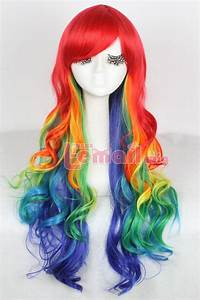 75cm long multicolor Rainbow hair curly Wavy zipper ...