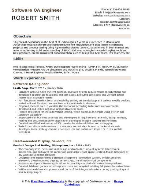 software qa engineer resume sles qwikresume