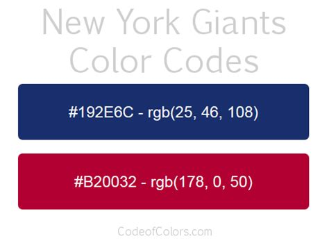 ny giants colors new york giants colors hex and rgb color codes