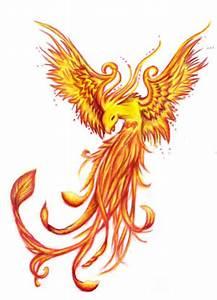 Fire Flying Phoenix Tattoos Design