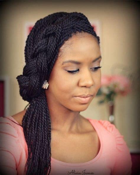 Twist And Braid Hairstyles by Asymmetric Headband Braid From Thin Senegalese Twists