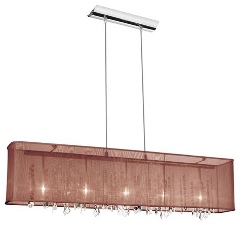 5 light horizontal chandelier brown rectangular