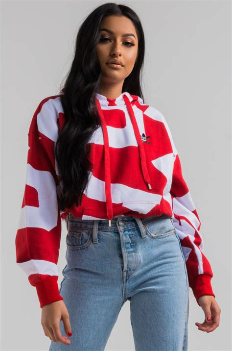 adidas bold age oversize womens hoodie  colred white