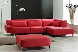 Canape Angle Rouge : canap d 39 angle rouge photo 3 15 avec son repose pied carr pour allonger ~ Teatrodelosmanantiales.com Idées de Décoration