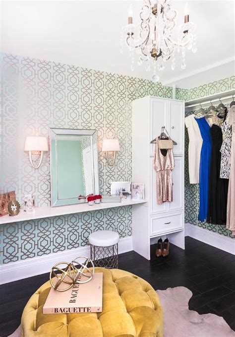 blue  green trellis closet wallpaper contemporary