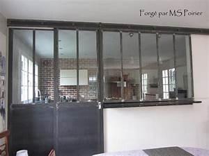cloison separation cuisine salon coulissante type atelier With separation cuisine style atelier