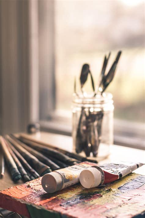 selective focus photography  paint brush set