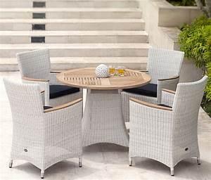 Polyrattan Tisch Rund : zebra polyrattan teak sessel tisch gruppe loomus 5tlg art jardin ~ Orissabook.com Haus und Dekorationen