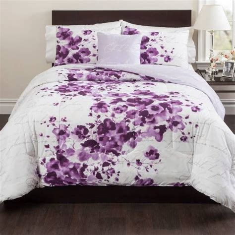 purple  white comforter  bed bath