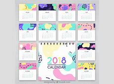 Abstract colorful calendar 2018 Vector Free Download