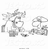 Poker Playing Coloring Cartoon Cowboy Bull Outlined Toonaday sketch template