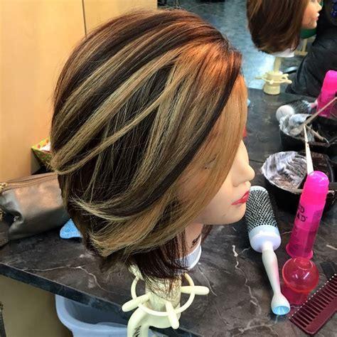 dark brown hair  caramel highlights   foil   called  pinwheel hair