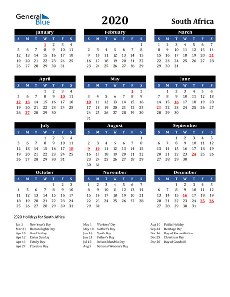 calendar south africa  holidays