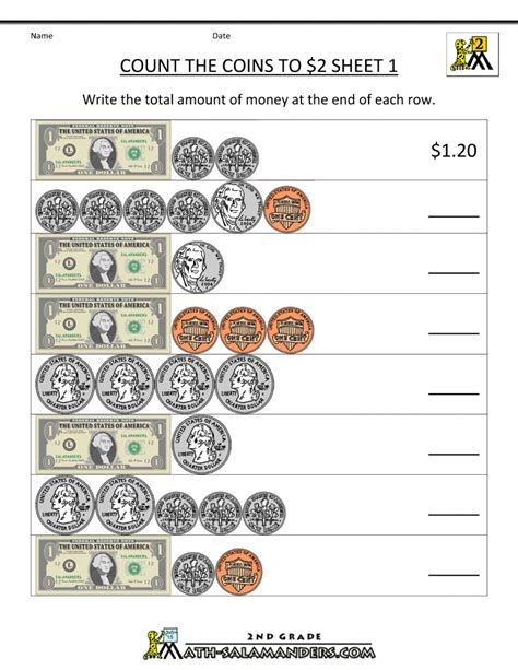 2nd Grade Money Worksheets Up To $2
