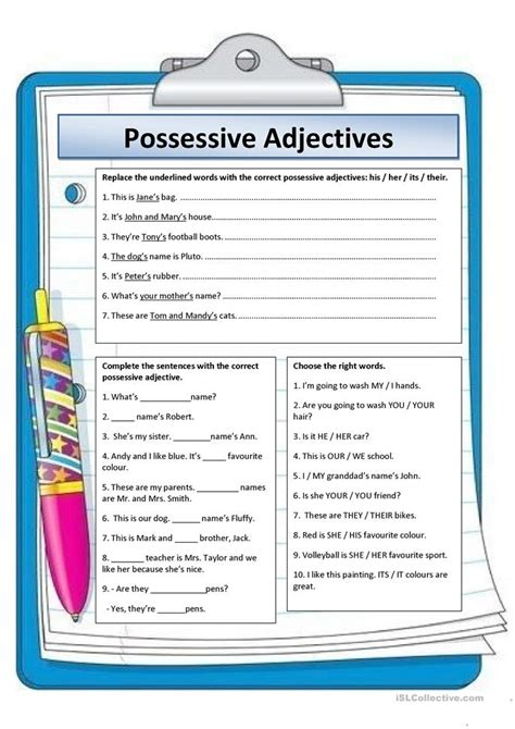 possessive adjectives worksheet  esl printable