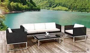 salon bas jardin design en resine tressee noire 5 places nova With salon de jardin moderne design
