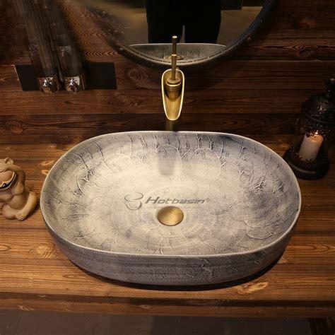 Manmade Ceramic Light Grey Oval Long Cheap Vessel Sink