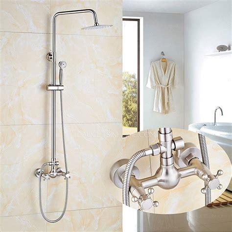 brushed nickel handheld sprayer shower faucet set double