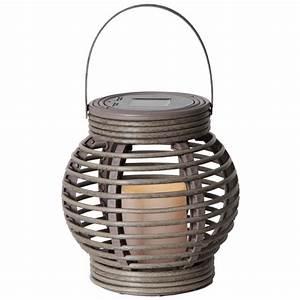 Solar Laterne Groß : solar led laterne lantern16 grau braun mit kerze weidenkorb optik ~ Watch28wear.com Haus und Dekorationen