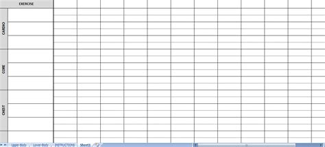 workout sheets excel workout routine sheets workout sheets