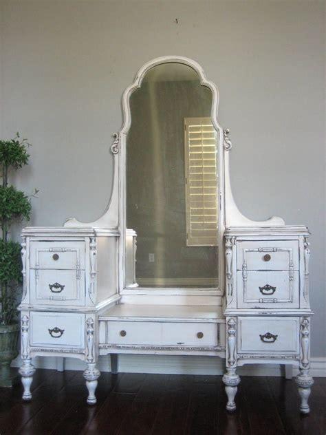 White Chabby Chic Furniture Vanity Table Repurpose