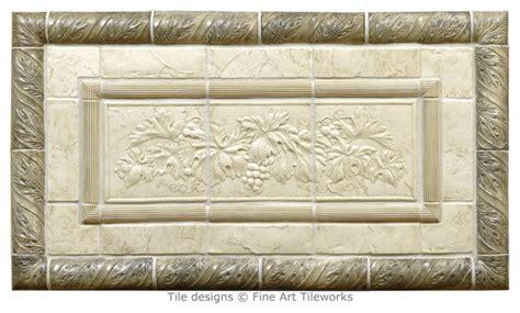 grapes leaves handmade tile mural trims
