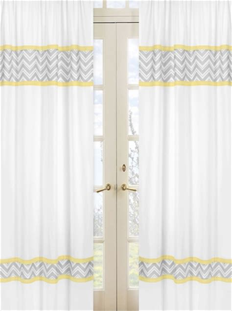 yellow and gray chevron zig zag window treatment panels by