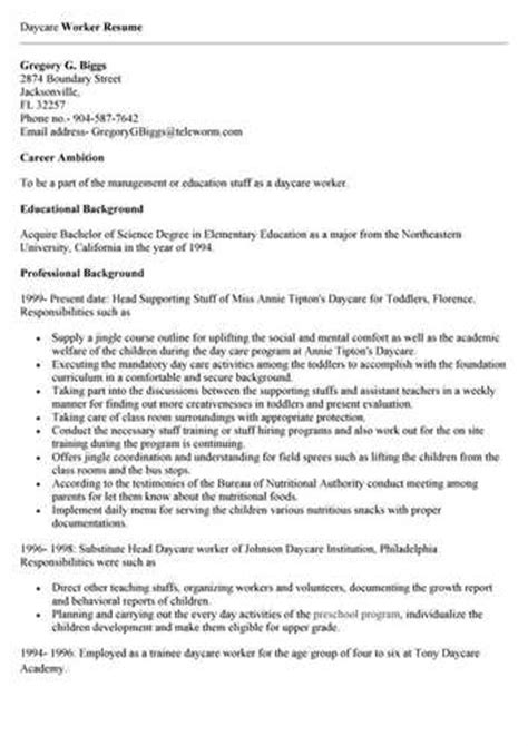 Day Care Worker Responsibilities Resume by Daycare Worker Resume Objective