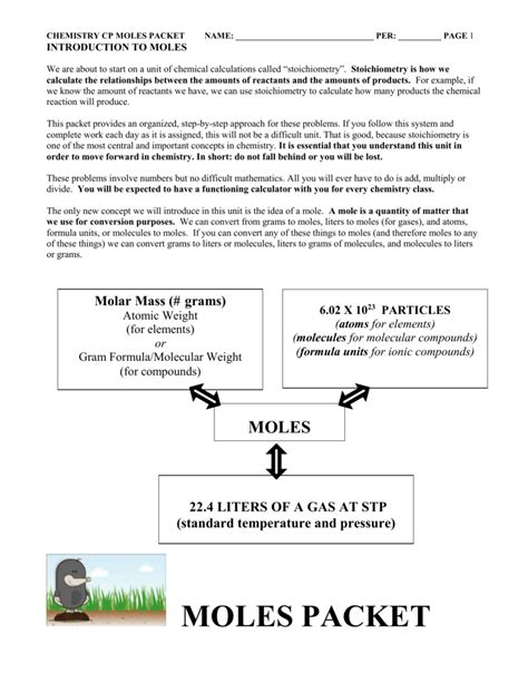 mole problems with compounds worksheet kidz activities