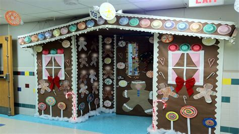 school office decor christmas gingerbread house door