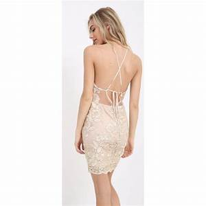Gold And Cream Floral Lace Open Back Tie Back Bodycon Dress