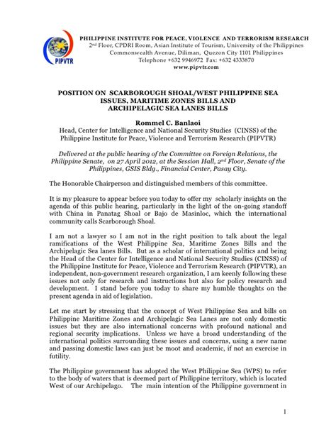 position  scarborough shoal issues