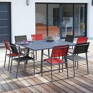 Table Carrée De Jardin : salon de jardin table carr e barcelona 8 fauteuils duca gris rouge gamm vert ~ Melissatoandfro.com Idées de Décoration
