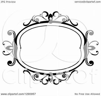 Oval Swirl Frame Clipart Vector Ornate Illustration
