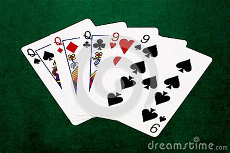 poker hands full house queens   stock photo